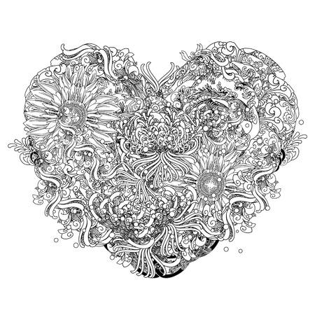 astratto cuore floreale a forma di disegno, illustrazione, disegnato a mano