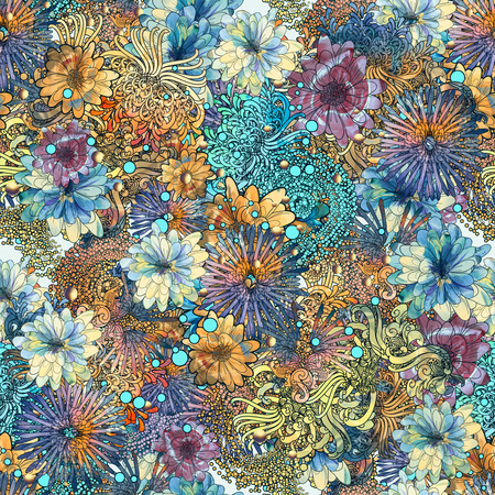 seamless floral pattern,beautiful wallpaper with colorful flowers,watercolor Stock Photo