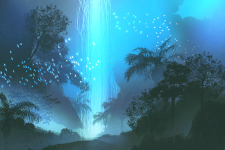 waterfall in forest: night scenery showing blue waterfall in forest,landscape painting,illustration Stock Photo
