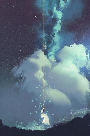 vrouw op een schommel onder nachtelijke hemel met sterren en wolken, illustratie painting Stockfoto