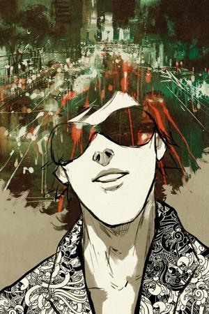 밤 도시 거리 그림, 일러스트와 함께 초상화 남자의 이중 노출 개념 스톡 콘텐츠