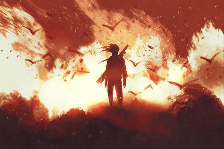uomo con la pistola in piedi contro lo sfondo di fuoco, illustrazione pittura