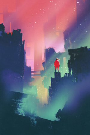abandoned city: night scenery with red man standing on abandoned city,illustration painting Stock Photo