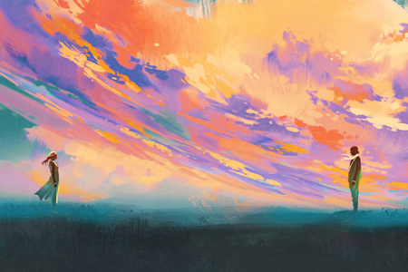 man and woman standing opposite of each other against colorful sky,illustration painting Фото со стока