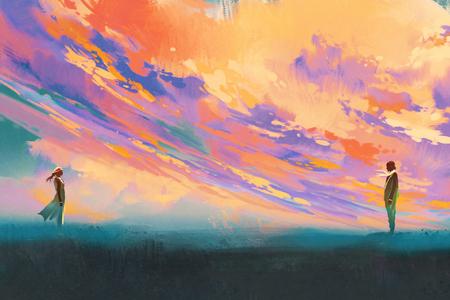 man en vrouw staan tegenover elkaar tegen kleurrijke hemel, illustratie painting Stockfoto