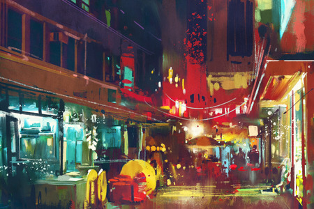 city alley: painting of colorful building and city street at night,cityscape illustration Stock Photo