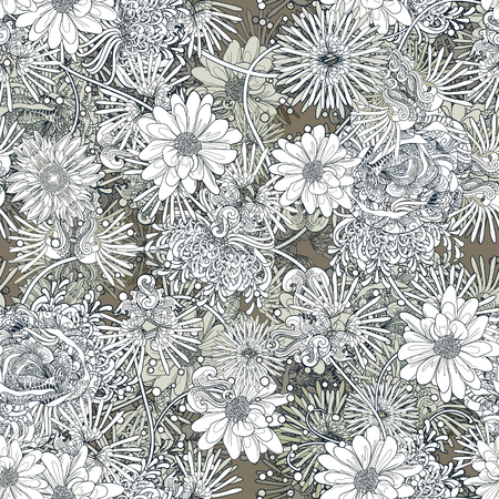 flowers seamless pattern,floral illustration,monochrome endless background