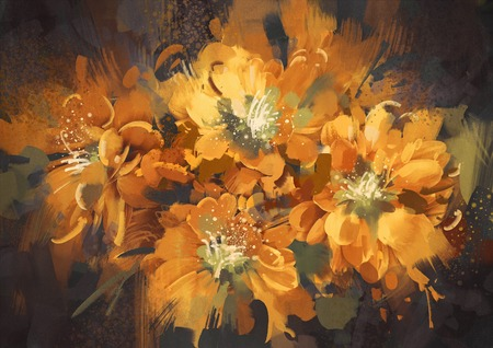 pintura abstracta: digital painting of colorful abstract flowers with grunge texture,illustration Foto de archivo
