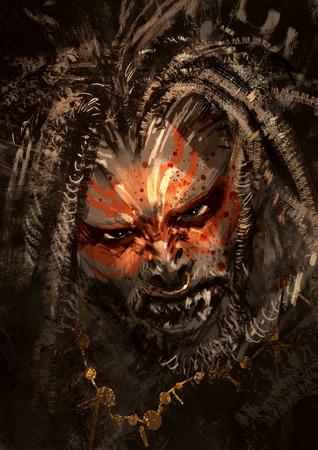 demonio: retrato monstruo que muestra pinturas de guerra en la cara del personaje de terror, pintura digital, ilustración