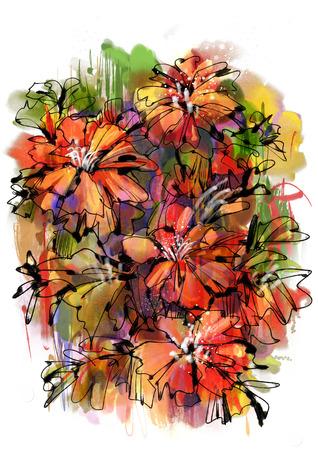 pittura di coloratissimi fiori astratti con stile acquerello Archivio Fotografico