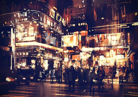 arte abstracto: pintura de calle de la ciudad por la noche con luces de colores