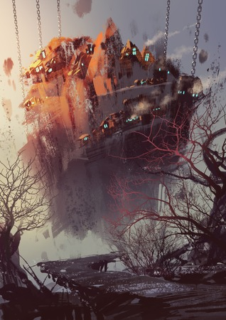 art painting: painting of science fiction concept with hanging village,illustration art Stock Photo