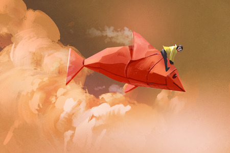 surreal: girl riding on the origami paper red fish in the clouds,illustration painting