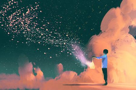 Homme tenant une cage avec flottante shinning poussière d'étoile, illustration peinture Banque d'images - 65012667