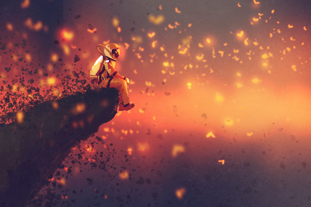 astronaut sitting on cliff's edge and looking to fireflies,illustration painting 스톡 콘텐츠