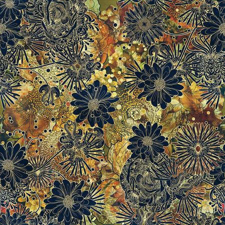 arte abstracto: patrón abstracto sin fisuras con flores de colores, la ilustración de flores pintura
