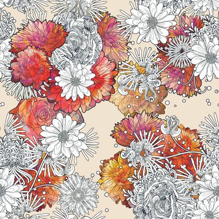 Abstract seamless pattern avec des fleurs colorées sur fond beige, peinture illustration florale Banque d'images - 65012672
