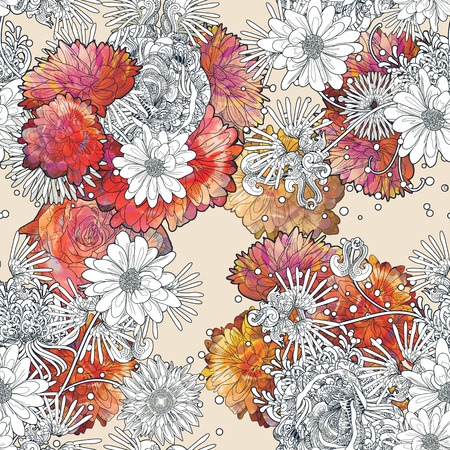 abstract seamless pattern with colorful flowers on beige background,floral illustration painting
