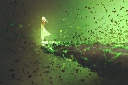 vrouw die zich eenzaam op de rand van een klif met explosie effect, illustration painting Stockfoto