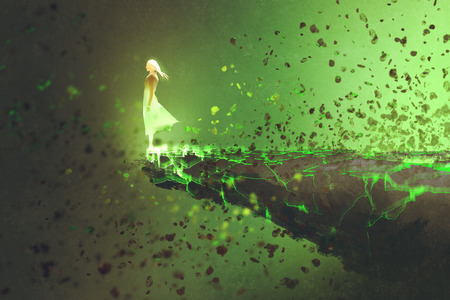 cliff edge: woman standing lonely on the edge of a cliff with explosion effect,illustration painting