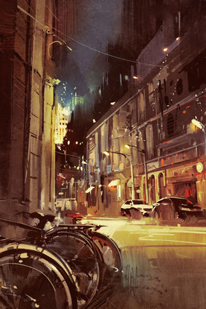street night: night scene of a street in city with colorful light,illustration painting Stock Photo