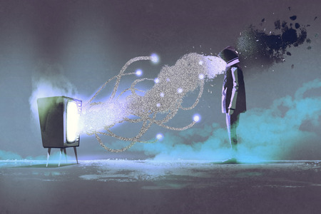 man standing in front of unusual television on dark background,illustration painting Stock Photo