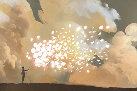 男は空、絵画の図の解放光る風船と蝶の群れ