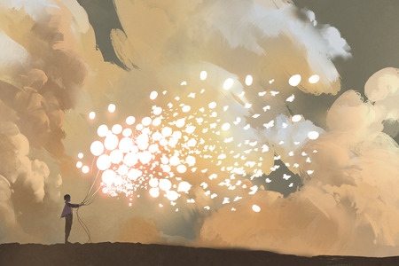 man vrijgeven gloeiende ballonnen en vlinders massaal in de lucht, illustratie painting Stockfoto