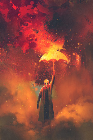 rain coat: gas mask man holding burning umbrella on fire background,illustration painting