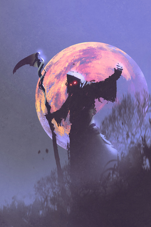 der Tod mit Sense stehend gegen Nachthimmel mit Vollmond, Halloween-Konzept, Illustration,