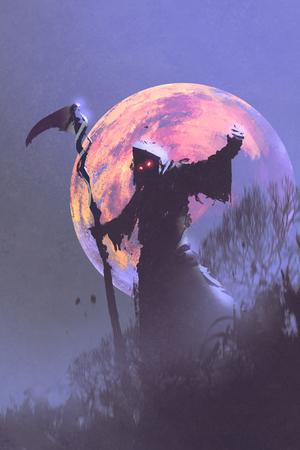guadaña: la muerte con guadaña de pie contra el cielo nocturno con la luna llena, el concepto de Halloween, ilustración pintura
