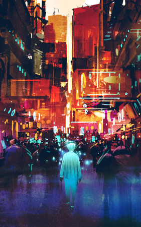 futuristic man: glowing blue man walking in futuristic city with colorful light,illustration painting