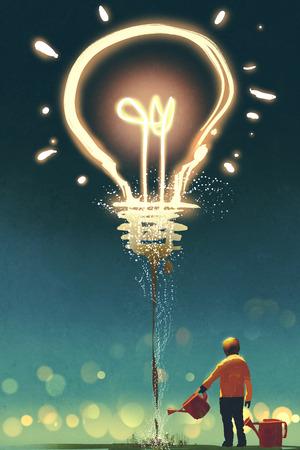 ragazzo che innaffia una grande lampadina su sfondo scuro, concetto per creativa, illustrazione pittura