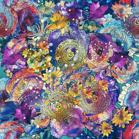 nahtlose Muster von bunten Blumen mit Textur, floral Illustration Malerei