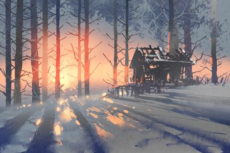 winterlandschap van een verlaten huis in het bos, illustratie painting