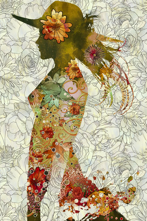 double exposure of woman with hat and colorful flowers on floral background,illustration painting