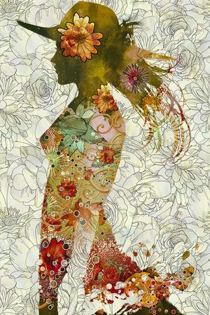 Doppelbelichtung der Frau mit Hut und bunten Blumen auf floralen Hintergrund, Illustration, Standard-Bild