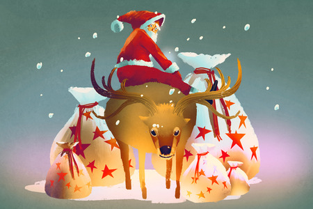 gift bags: santa claus sitting on his reindeer with gift bags,illustration painting Stock Photo