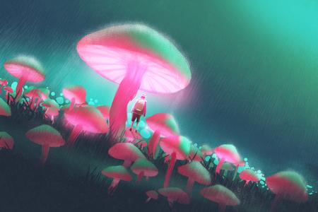 escursionista uomo nella foresta grandi funghi di notte di pioggia, illustrazione pittura
