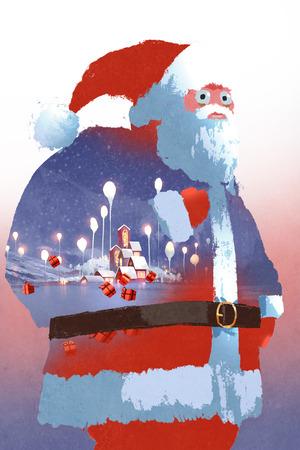 doppia esposizione di Babbo Natale e paesaggio invernale con il villaggio di fantasia, illustrazione pittura