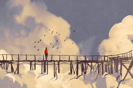 man standing on old bridge in clouds,illustration painting Stock Photo
