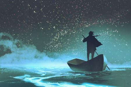 絵画イラスト星と美しい空の下の海でボートをこぐ人 写真素材