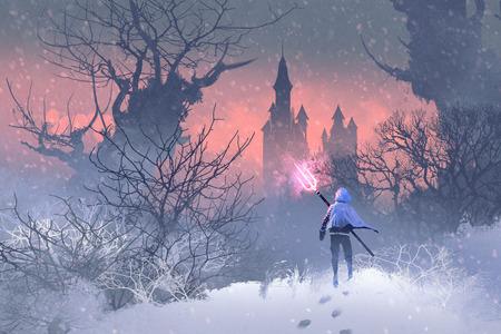 ridder met drietand in de winterlandschap, illustratie painting