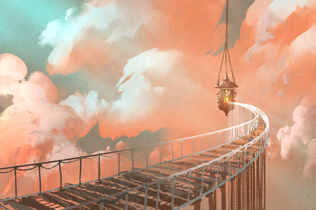rope bridge: rope bridge leading to the hanging lantern in a clouds,illustration painting