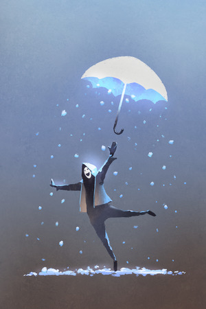 illustration and painting: happy man throws up a fantasy umbrella with falling snow,winter is coming,illustration painting Stock Photo