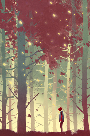 falling leaves: man standing in beautiful forest with falling leaves,illustration painting Stock Photo