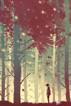 Uomo in piedi in una bella foresta con foglie che cadono, illustrazione pittura Archivio Fotografico - 64039626