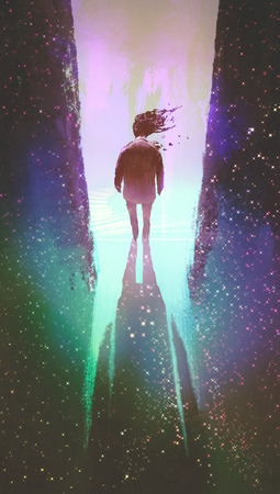 walk through: man walking out from a dark space into light,illustration painting