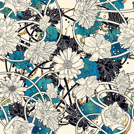 seamless con bellissimi fiori su sfondo bianco, floreale illustrazione pittura