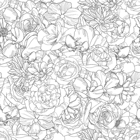 hand-drawn flowers seamless pattern,floral illustration endless background 写真素材